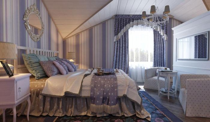 Спальня оклеена обоями в стиле прованс