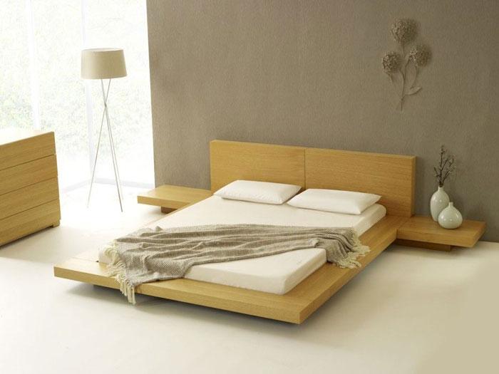Простая аскетичная спальня в японском стиле