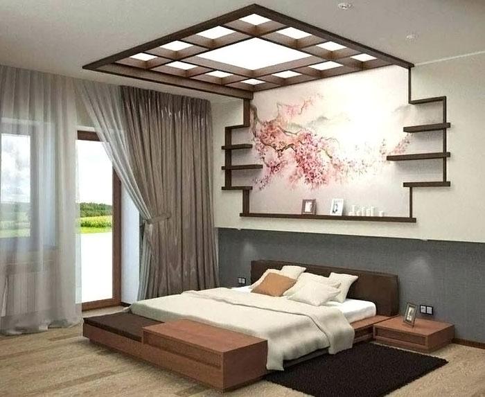 Пример интерьера спальни в японском стиле
