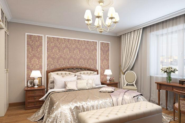 Комбинирование разных обоев в спальне
