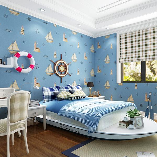 Синие обои в спальне у ребёнка