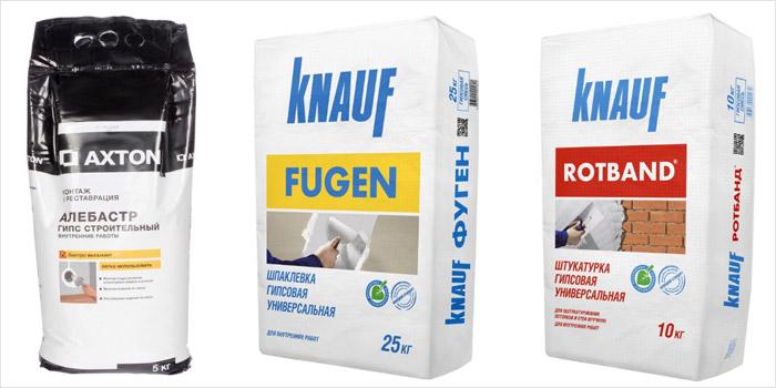 Пример материалов для фиксации подрозетников: алебастр Axton, гипсовая шпаклёвка Knauf Fugen, гипсовая штукатурка Knauf Rotband