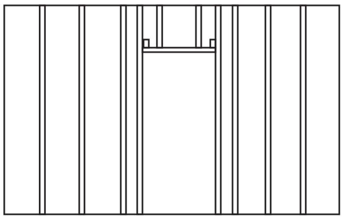 Схема монтажа каркаса из профиля в области дверного проёма