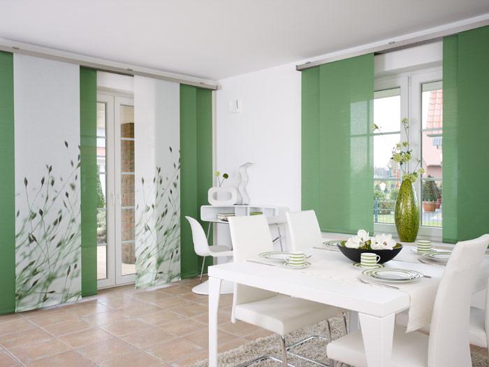 Шторы, японские панели, белые с зелёным