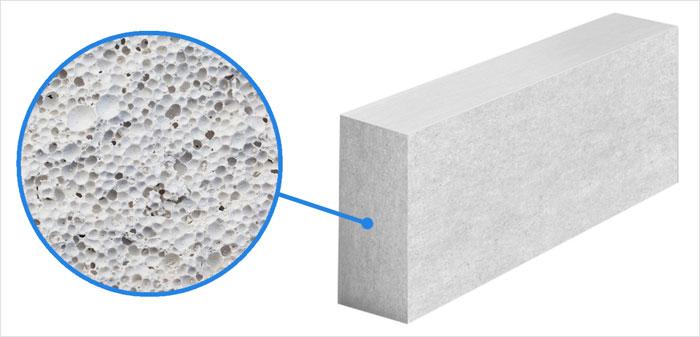 Пример газоблока, внутренняя структура газобетонного блока, поры внутри газобетона