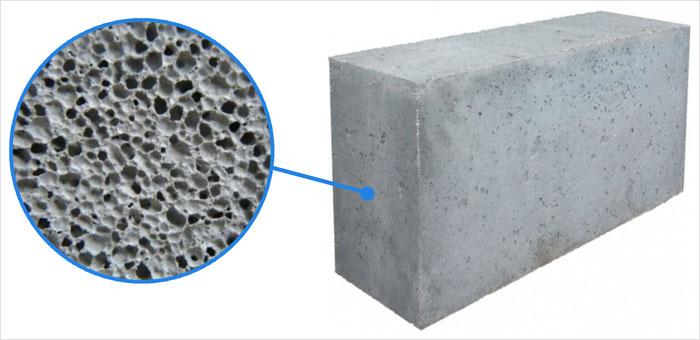 Пример пеноблока, внутренняя структура пенобетонного блока, поры внутри пенобетона