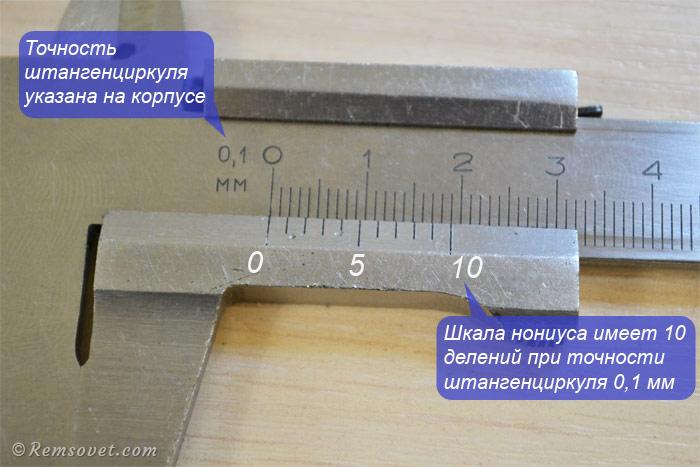 Точность штангенциркуля и количество делений на шкале нониуса