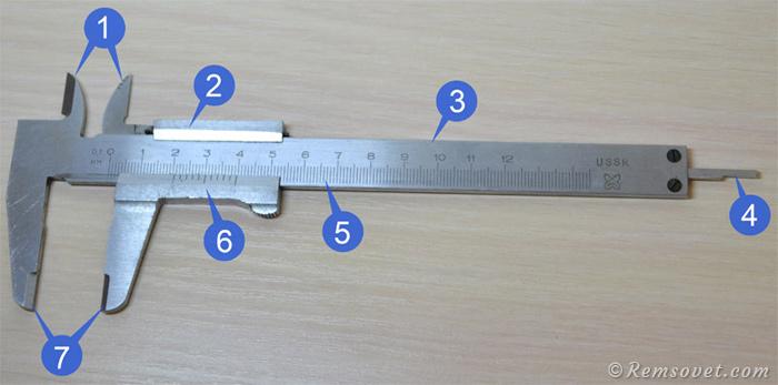 Устройство механического штангенциркуля