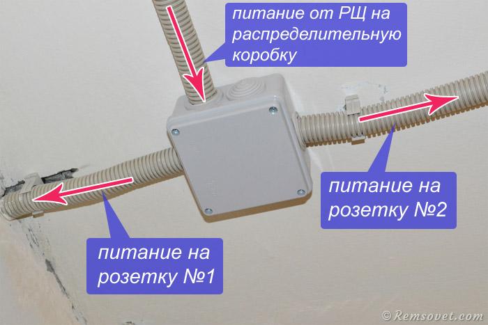 Схема подключения двух розеток, распределительная коробка