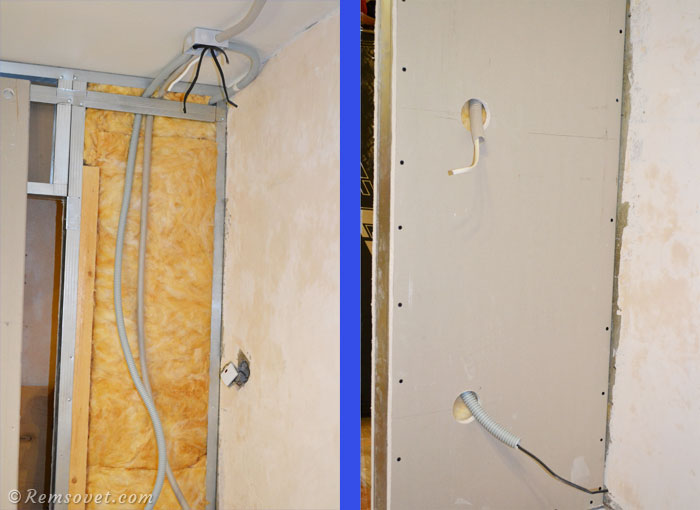 Прокладка электрического кабеля в гофре в перегородке