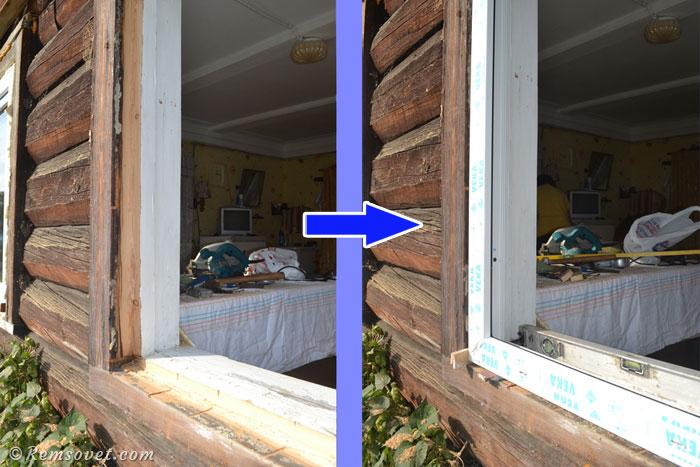 Устанавливаем раму пластикового окна